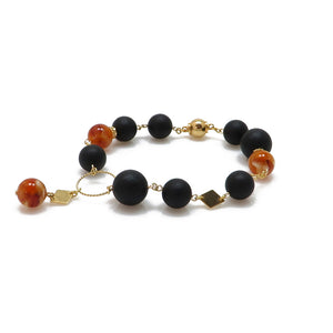 Two colors recycled Baltic amber bracelet