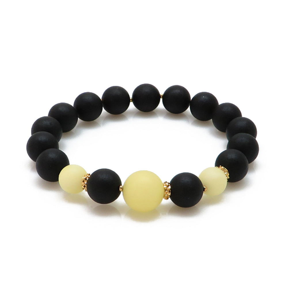 Black & White Amber Round Beads Stretch Bracelet 14K Gold Plated - Amber Alex Jewelry
