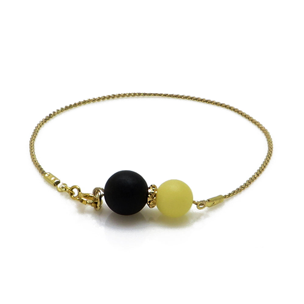 Black & White Amber Round Beads Chain Bracelet 14K Gold Plated - Amber Alex Jewelry