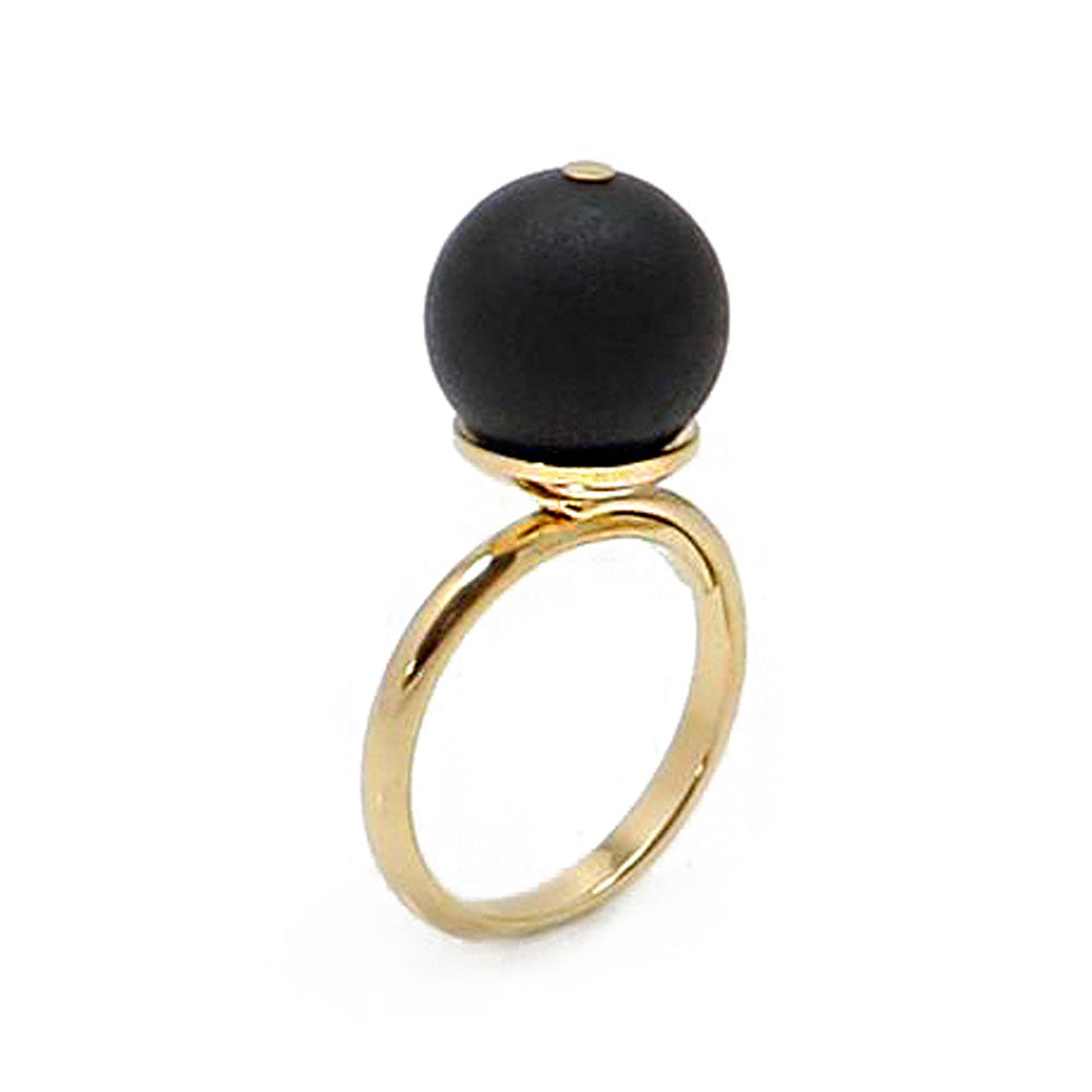 Black Amber Round Bead Adjustable Ring 14K Gold Plated - Amber Alex Jewelry
