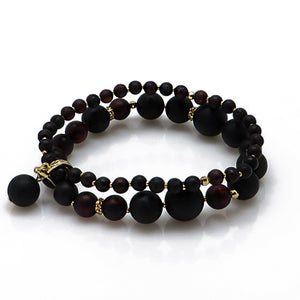 Black Amber Round Beads Stretch Bracelet 14 Gold Plated - Amber Alex Jewelry