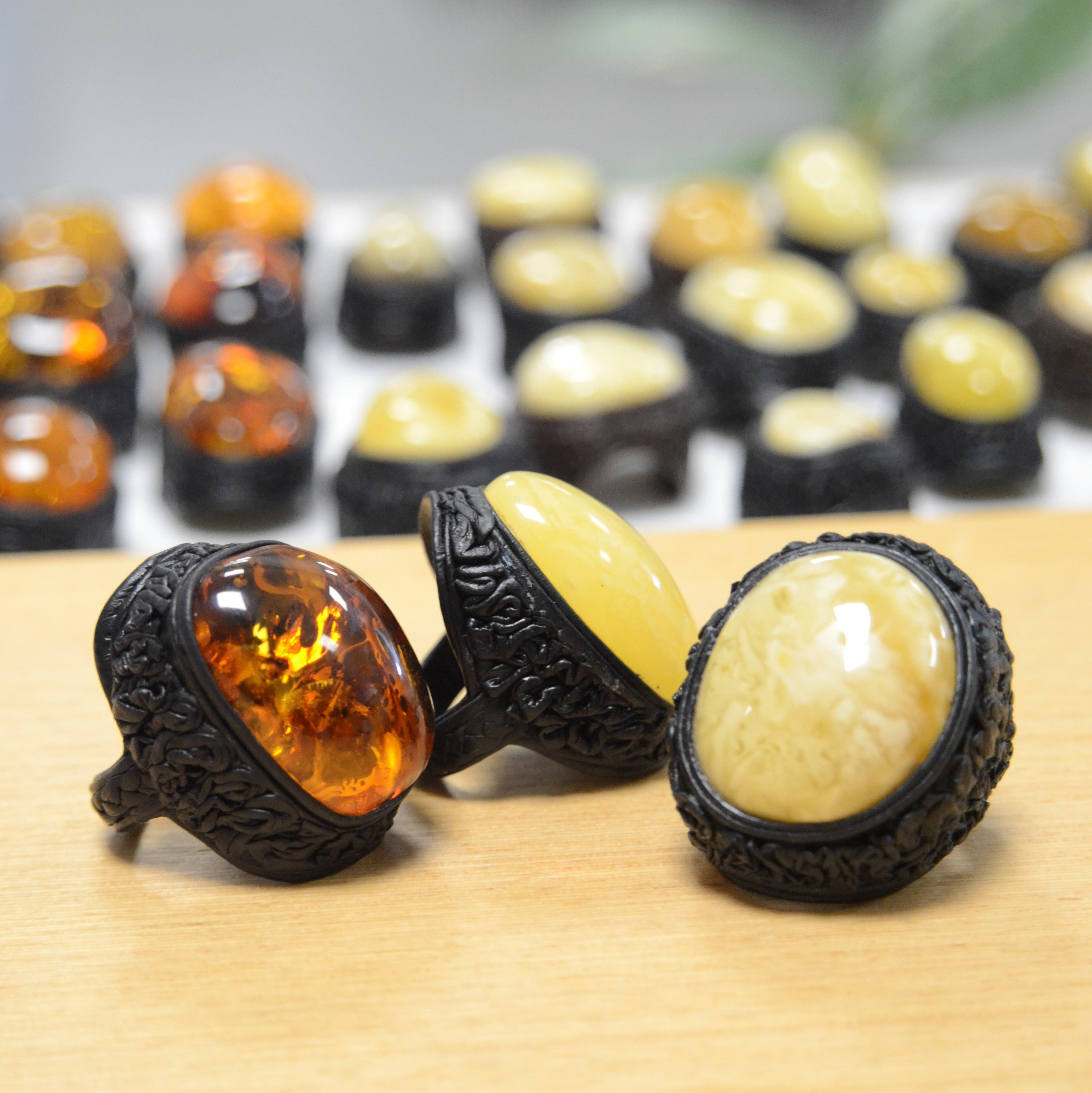 Milky Amber & Leather Adjustable Ring