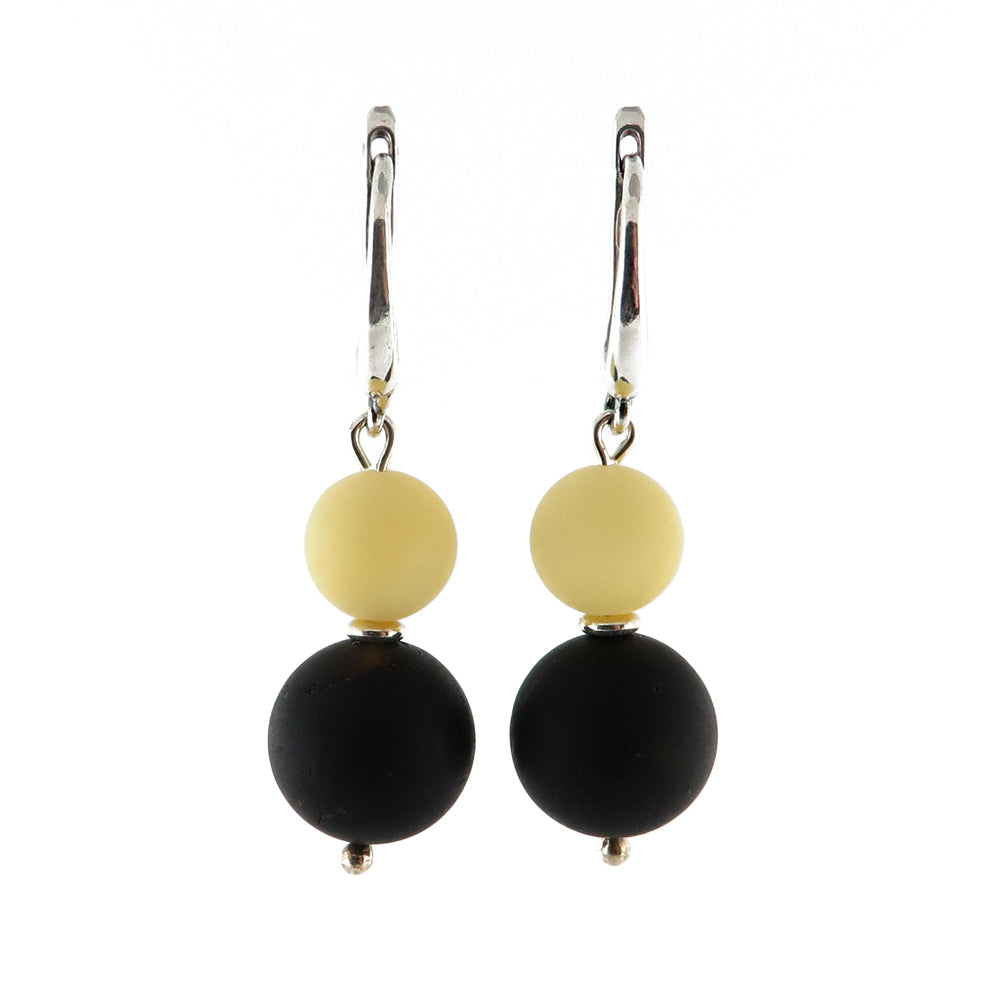 Black & White Amber Round Beads Dangle Earrings Sterling Silver - Amber Alex Jewelry