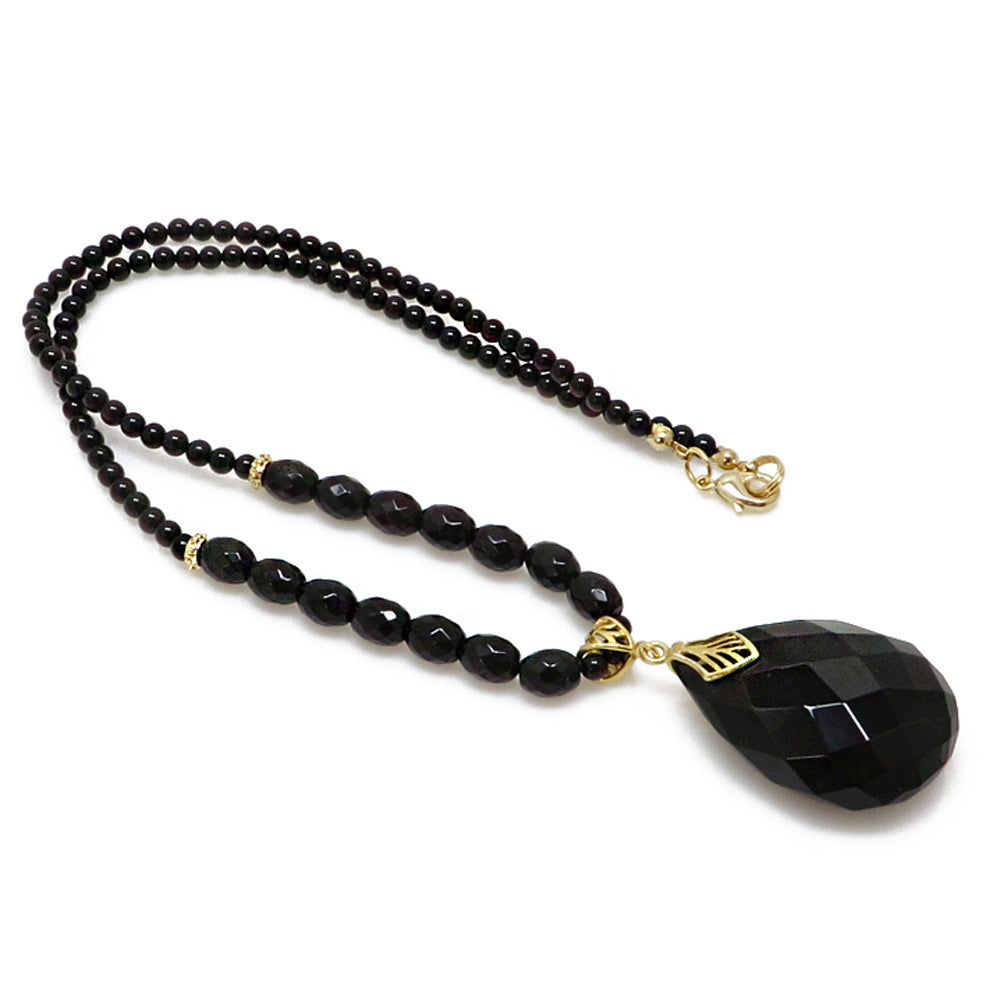 Black Amber Faceted Drop Pendant Beaded Necklace - Amber Alex Jewelry