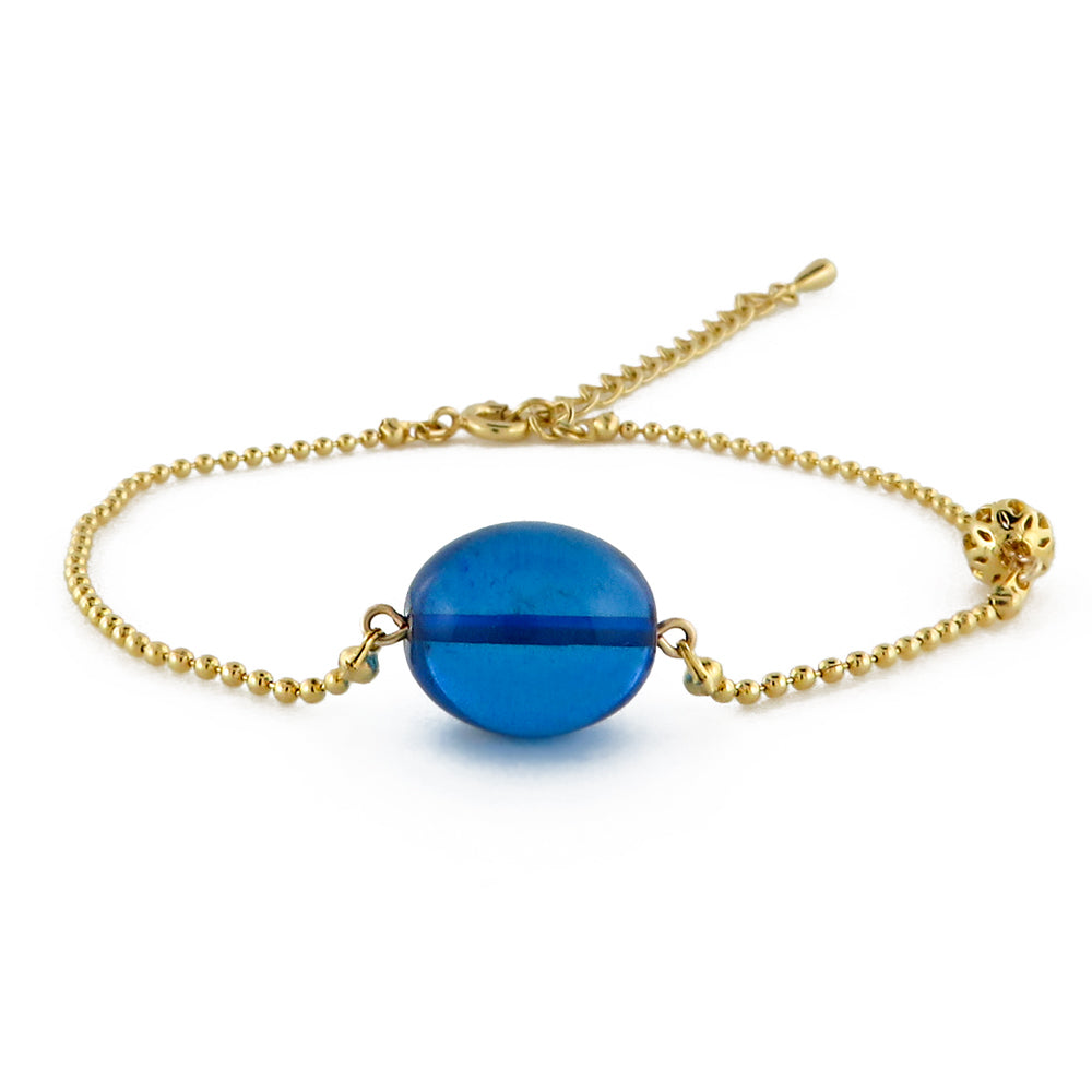 Blue Amber Olive Bead Chain Bracelet 14K Gold Plated - Amber Alex Jewelry