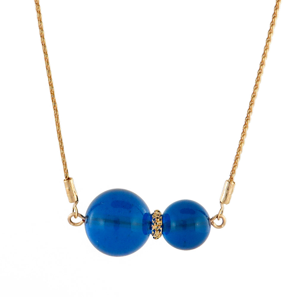 Blue Round Beads Chain Necklace 14K Gold Plated - Amber Alex Jewelry