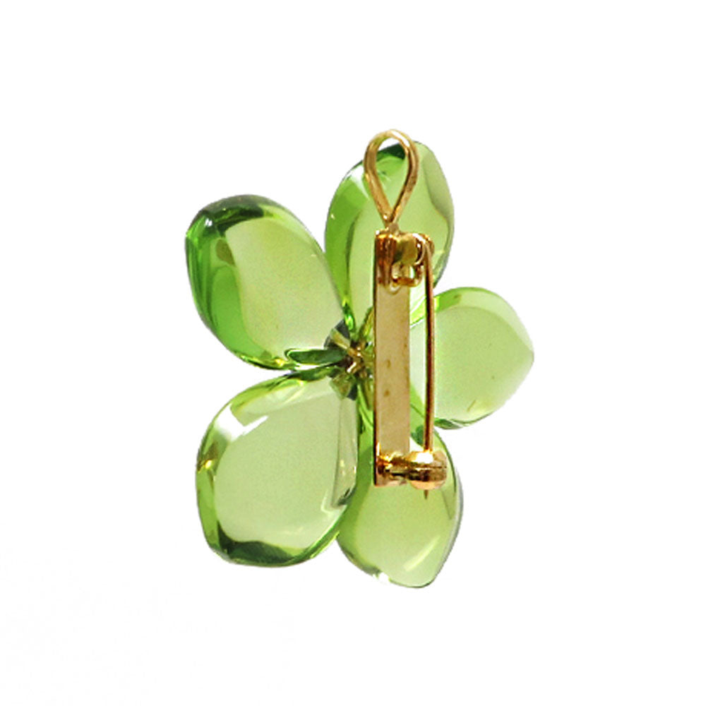 Green Amber Flower Brooch - Pendant - Amber Alex Jewelry