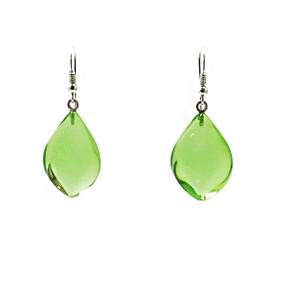 Green Amber Flame Dangle Earrings Sterling Silver - Amber Alex Jewelry