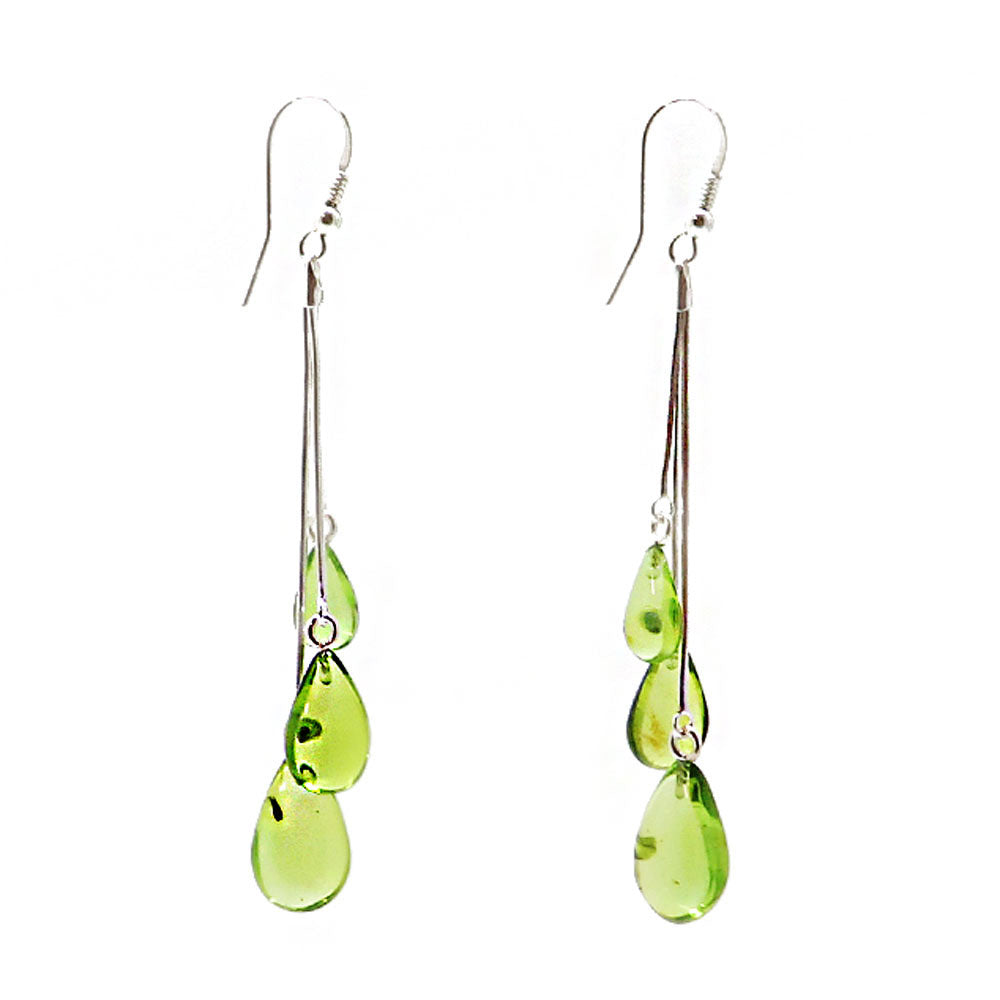Green Amber Drop Dangle Earrings Sterling Silver - Amber Alex Jewelry