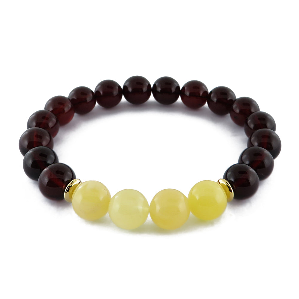 Cherry Amber Round Beads Stretch Bracelet - Amber Alex Jewelry