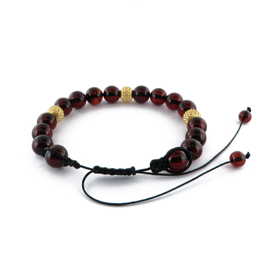 Cherry Amber Round Beads adjustable Bracelet 14K Gold Plated - Amber Alex Jewelry