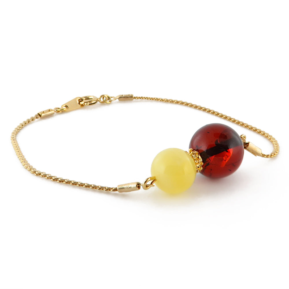 Cherry and Milky Amber Round Beads Chain Bracelet 14K Gold Plated - Amber Alex Jewelry