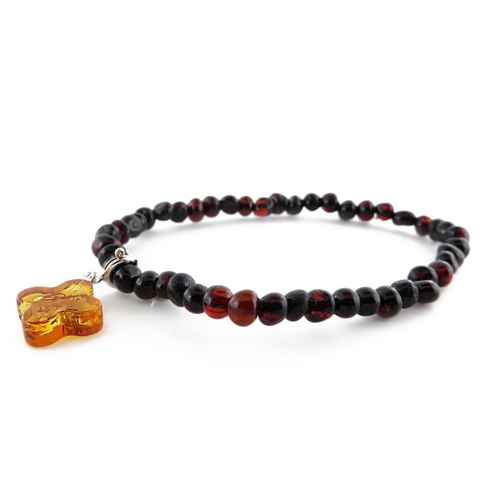 Cherry Amber Baroque Beads Bracelet with Charm Pendant - Amber Alex Jewelry