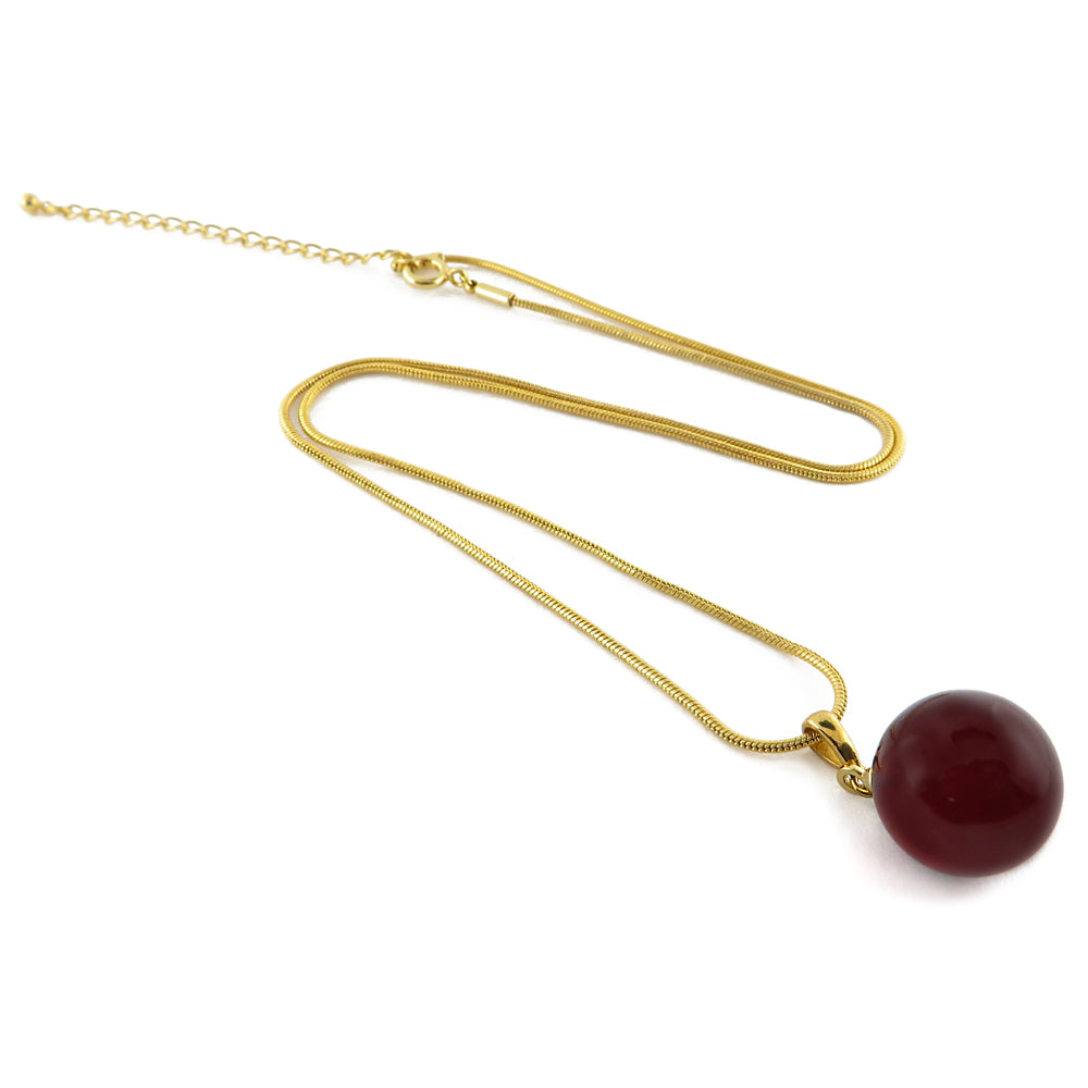 Cherry Amber Round Pendant & Chain Necklace 14K Gold Plated - Amber Alex Jewelry