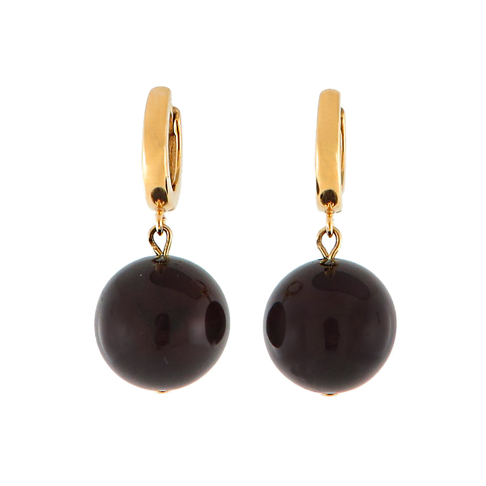 Cherry Amber Round Dangle Earrings 14K Gold Plated - Amber Alex Jewelry