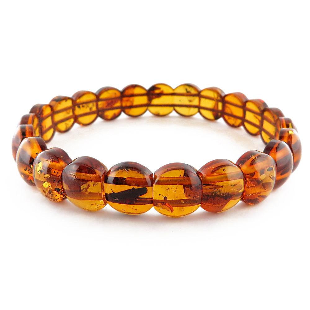 Cognac Amber Beads Stretch Bracelet - Amber Alex Jewelry