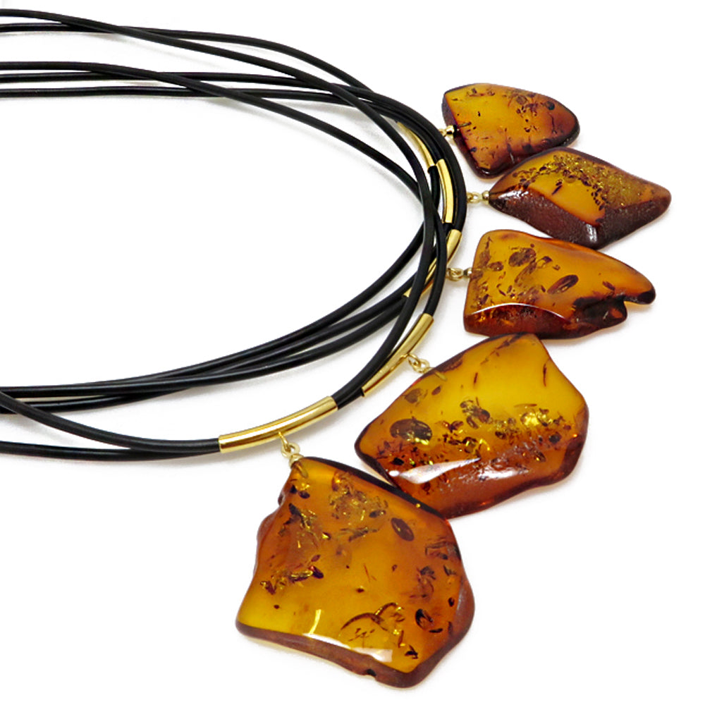 Cognac Amber Slab Pendant & Leather Necklace - Amber Alex Jewelry