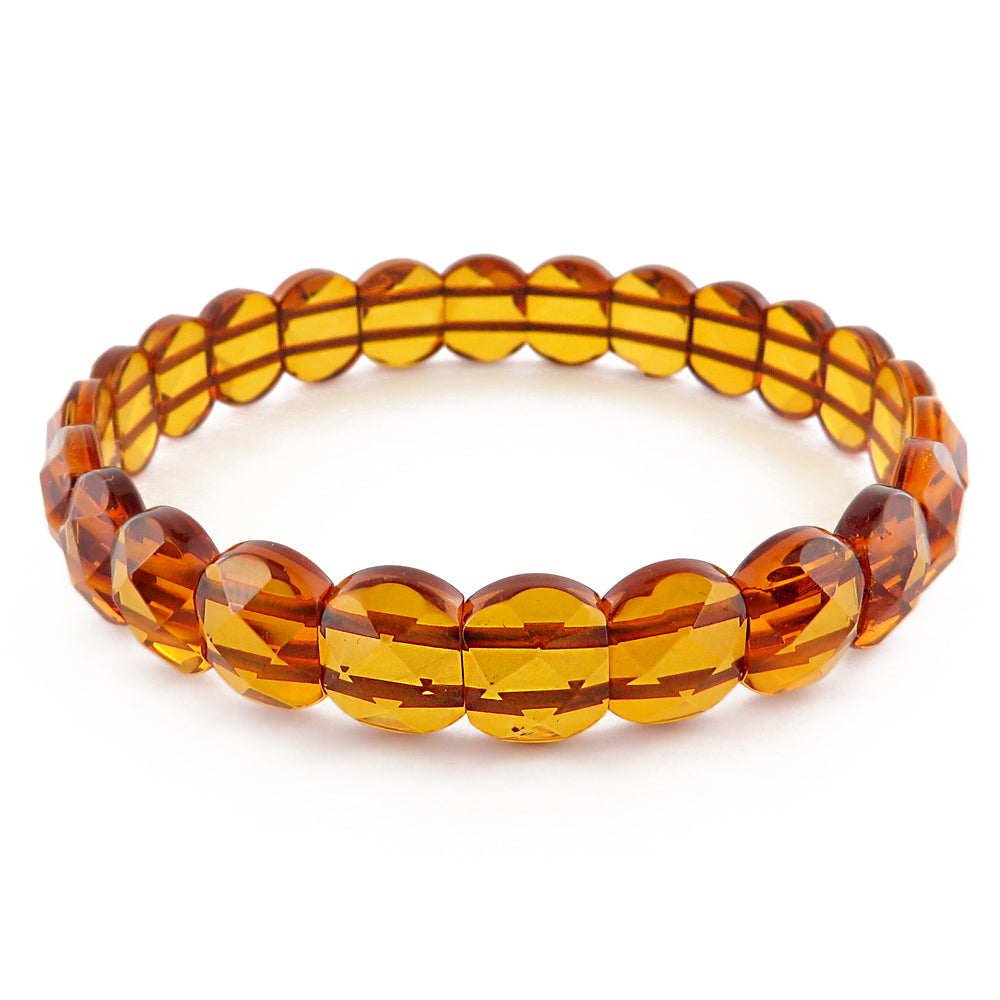 Cognac Amber Faceted Beads Stretch Bracelet - Amber Alex Jewelry