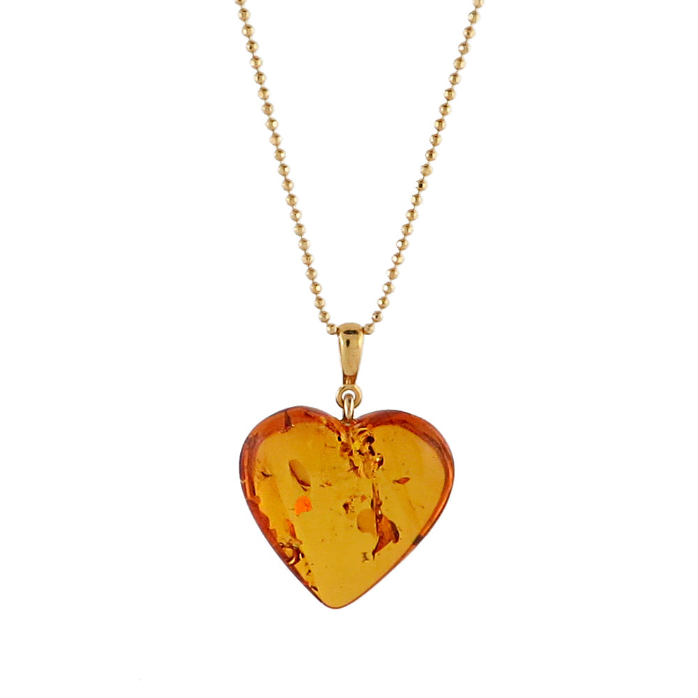 Cognac Amber Heart Pendant & Chain Necklace 14K Gold Plated - Amber Alex Jewelry