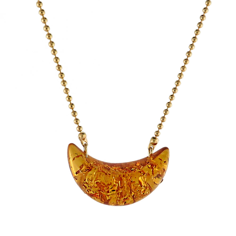 Cognac Moon shape Bead Chain Necklace 14K Gold Plated - Amber Alex Jewelry