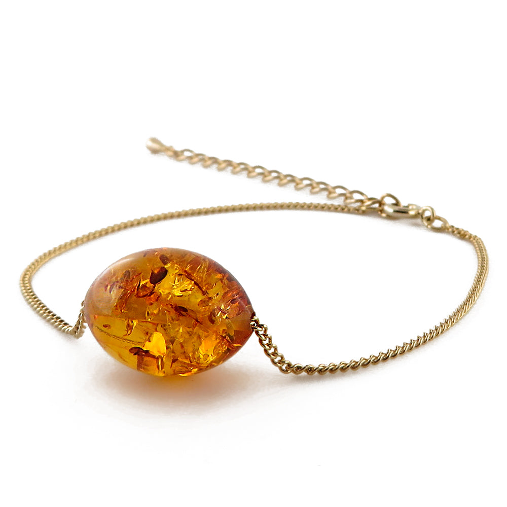 Cognac Amber Olive Bead Chain Bracelet 14K Gold Plated - Amber Alex Jewelry