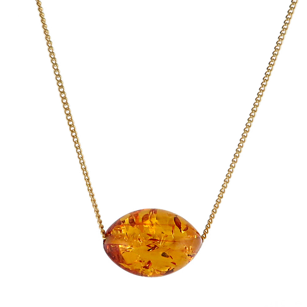 Cognac Olive shape Bead Chain Necklace 14K Gold Plated - Amber Alex Jewelry