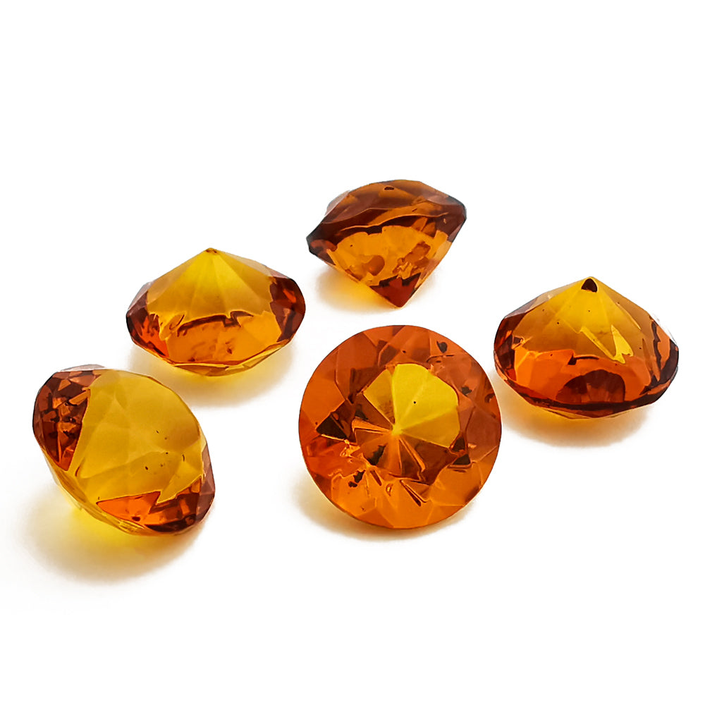 Cognac Amber Faceted Round Diamond Cut Stone - Amber Alex Jewelry