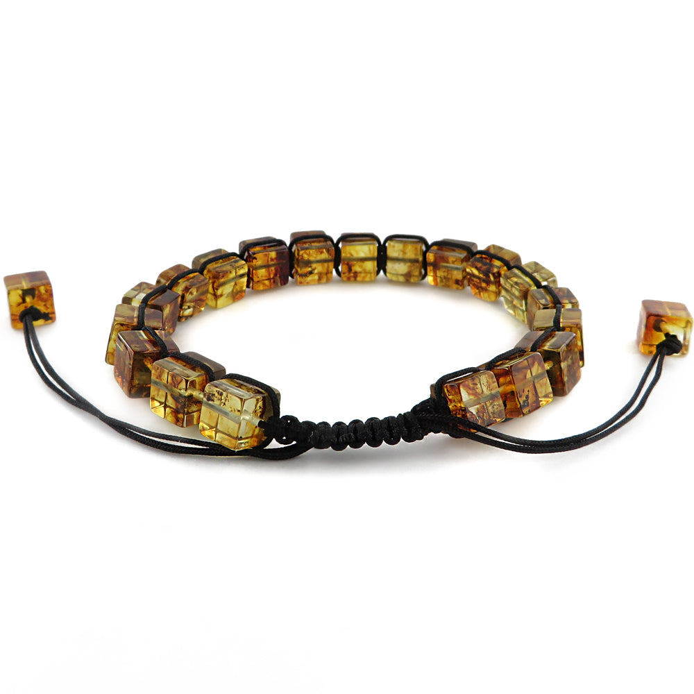 Amber Cube Beads Adjustable Bracelet - Amber Alex Jewelry