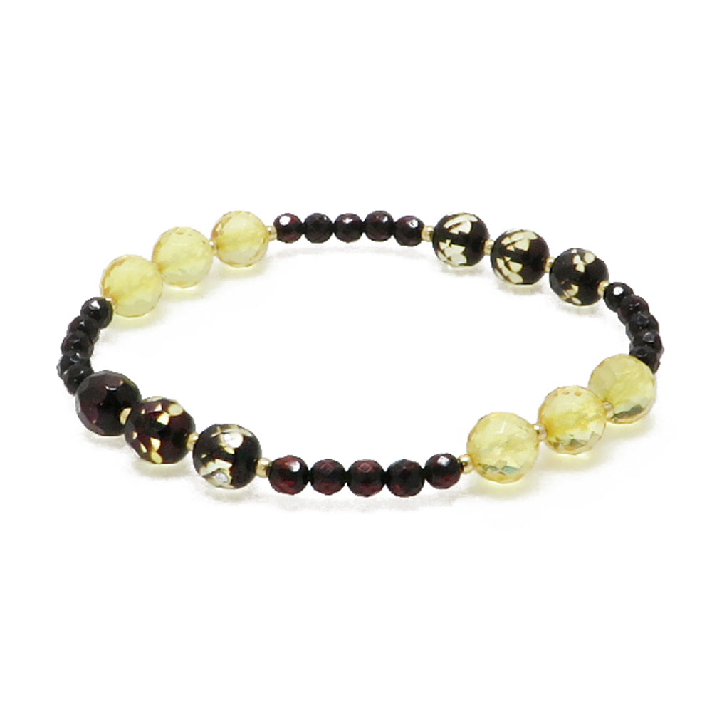 Multi-Color Amber Faceted Round Beads Stretch Bracelet - Amber Alex Jewelry