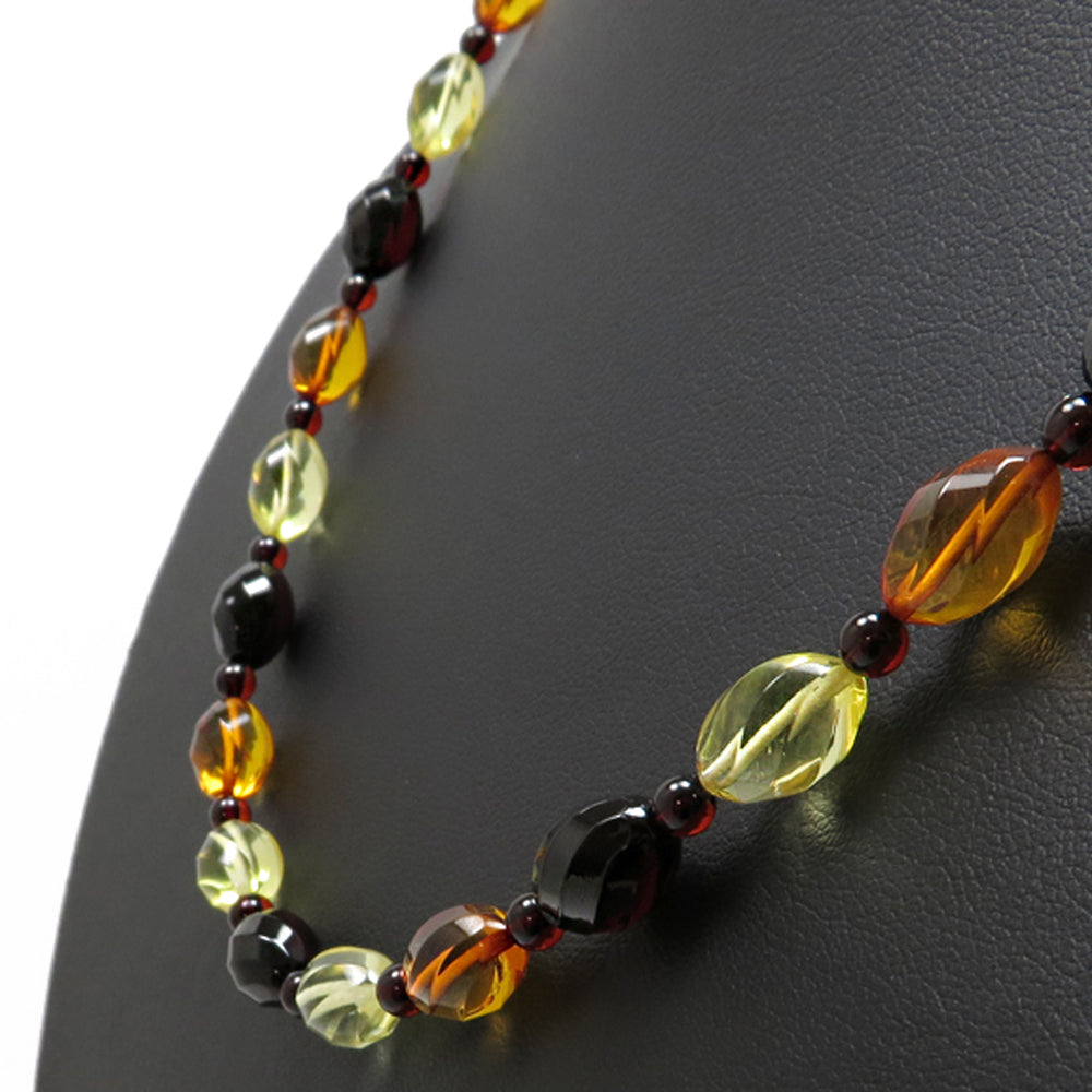 Multi-Color Amber Faceted Olives Necklace - Amber Alex Jewelry