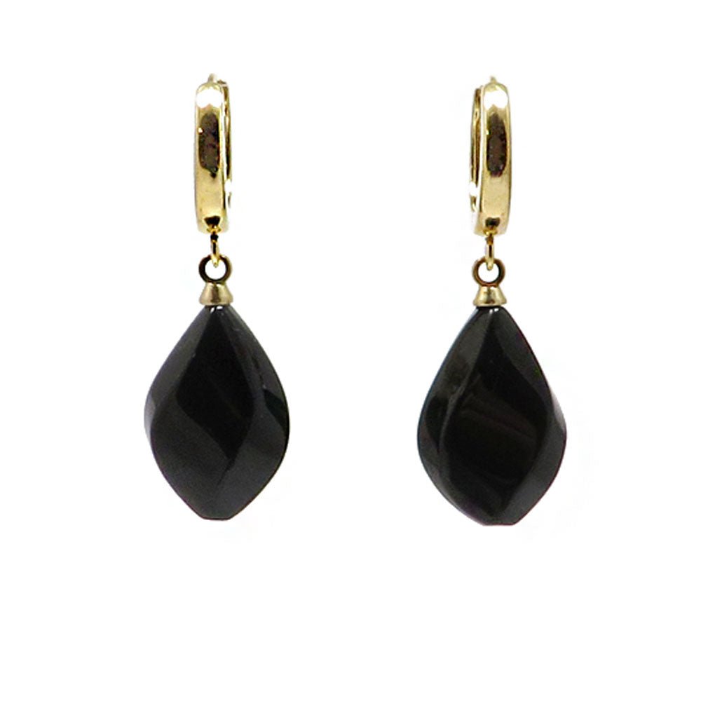 Black Amber Flame Dangle Earrings 14K Gold Plated - Amber Alex Jewelry