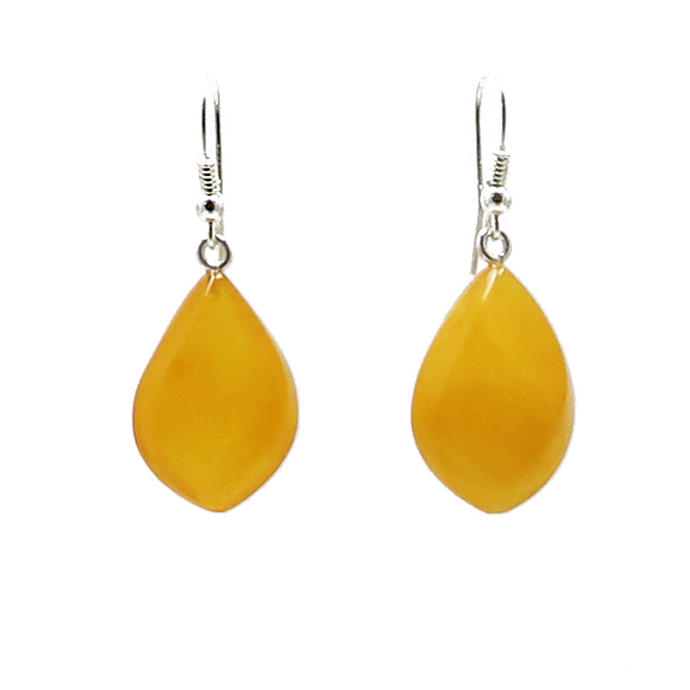 Antique Amber Drop Dangle Earrings Sterling Silver - Amber Alex Jewelry