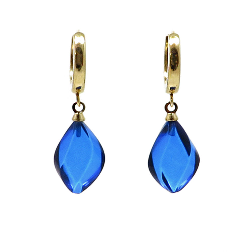 Blue Amber Flame Dangle Earrings 14K Gold Plated - Amber Alex Jewelry