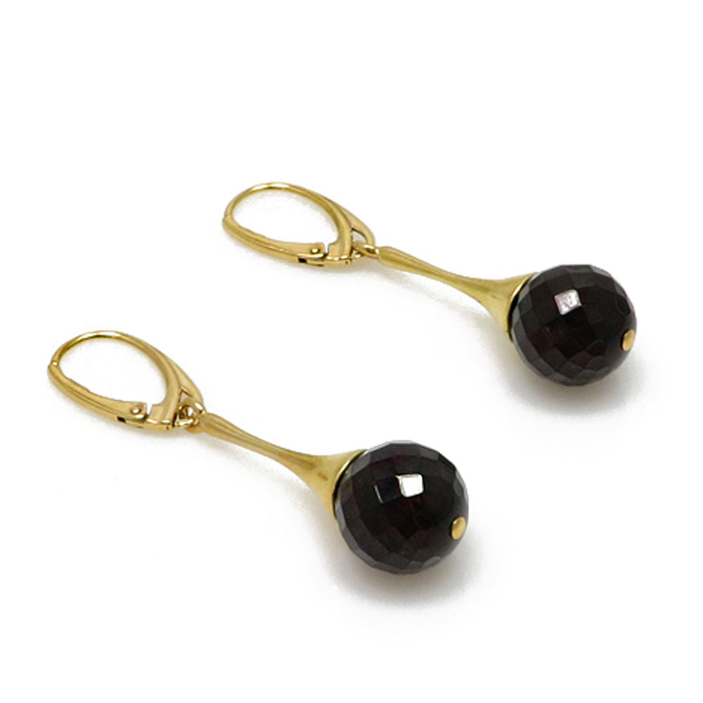 Cherry Amber Round Bead Dangle Earrings 14K Gold Plated - Amber Alex Jewelry