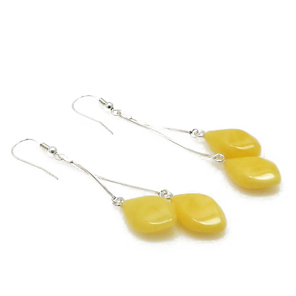 Milky Amber Drop Dangle Earrings Sterling Silver - Amber Alex Jewelry