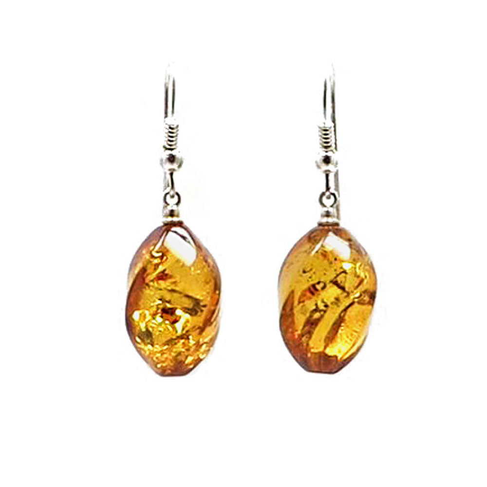 Cognac Amber Twisted Olive Dangle Earrings Sterling Silver - Amber Alex Jewelry