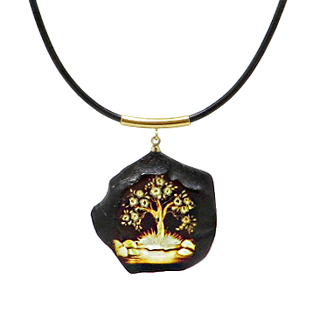 Engraved Amber Slab Pendant & Leather Necklace - Amber Alex Jewelry