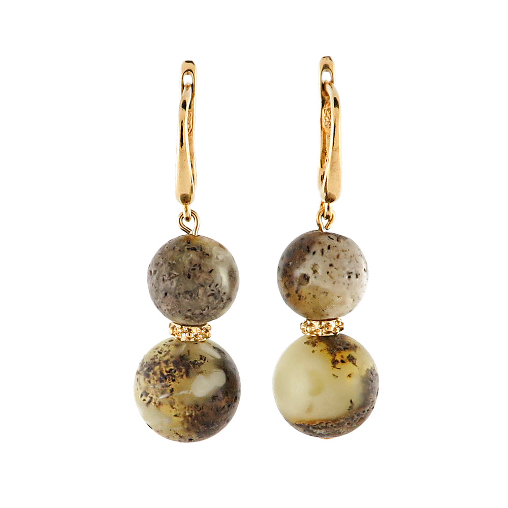 Milky-Fossil Amber Round Dangle Earrings 14K Gold Plated - Amber Alex Jewelry