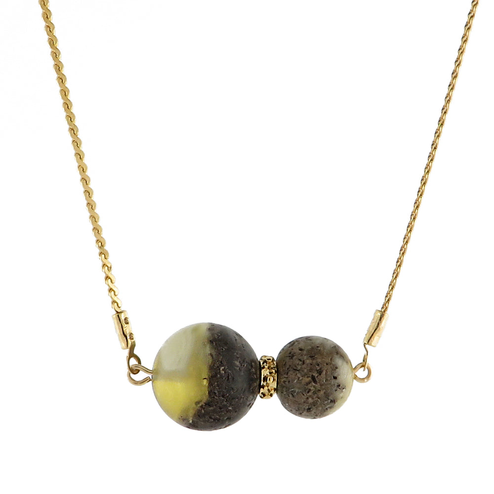 Milky-Fossil Round Beads Chain Necklace 14K Gold Plated - Amber Alex Jewelry