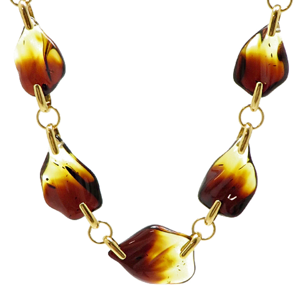 Gradient Amber Waves & 14K Gold Plated Necklace - Amber Alex Jewelry