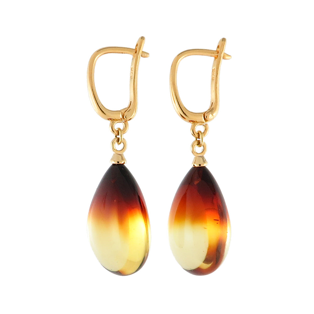 Gradient Amber Drop Dangle Earrings 14K Gold Plated - Amber Alex Jewelry