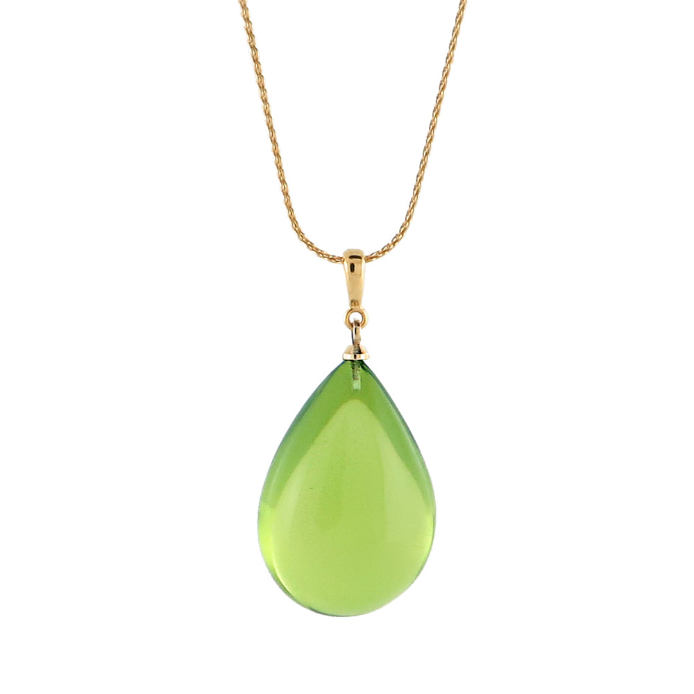 Green Amber Drop Pendant & Chain Necklace 14K Gold Plated - Amber Alex Jewelry