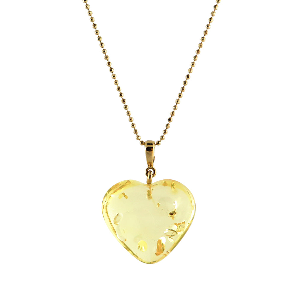 Lemon Amber Heart Pendant & Chain Necklace 14K Gold Plated - Amber Alex Jewelry