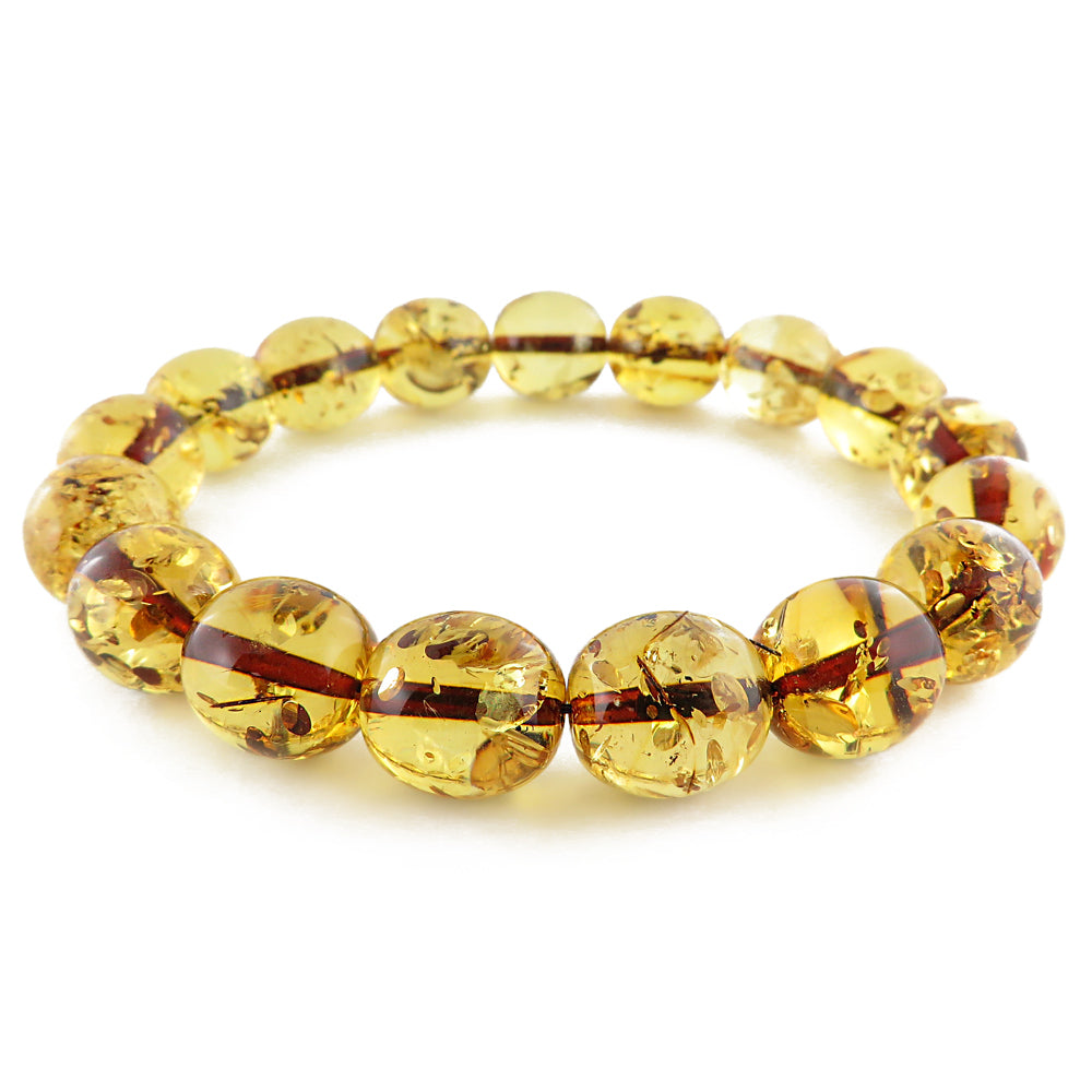 Lemon with Dark Flakes Amber Olive Beads Stretch Bracelet - Amber Alex Jewelry