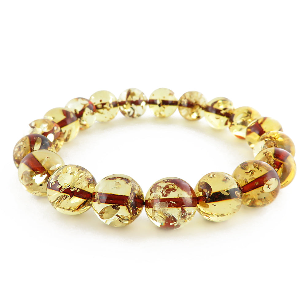 Lemon with Dark Flakes Amber Round Beads Stretch Bracelet - Amber Alex Jewelry
