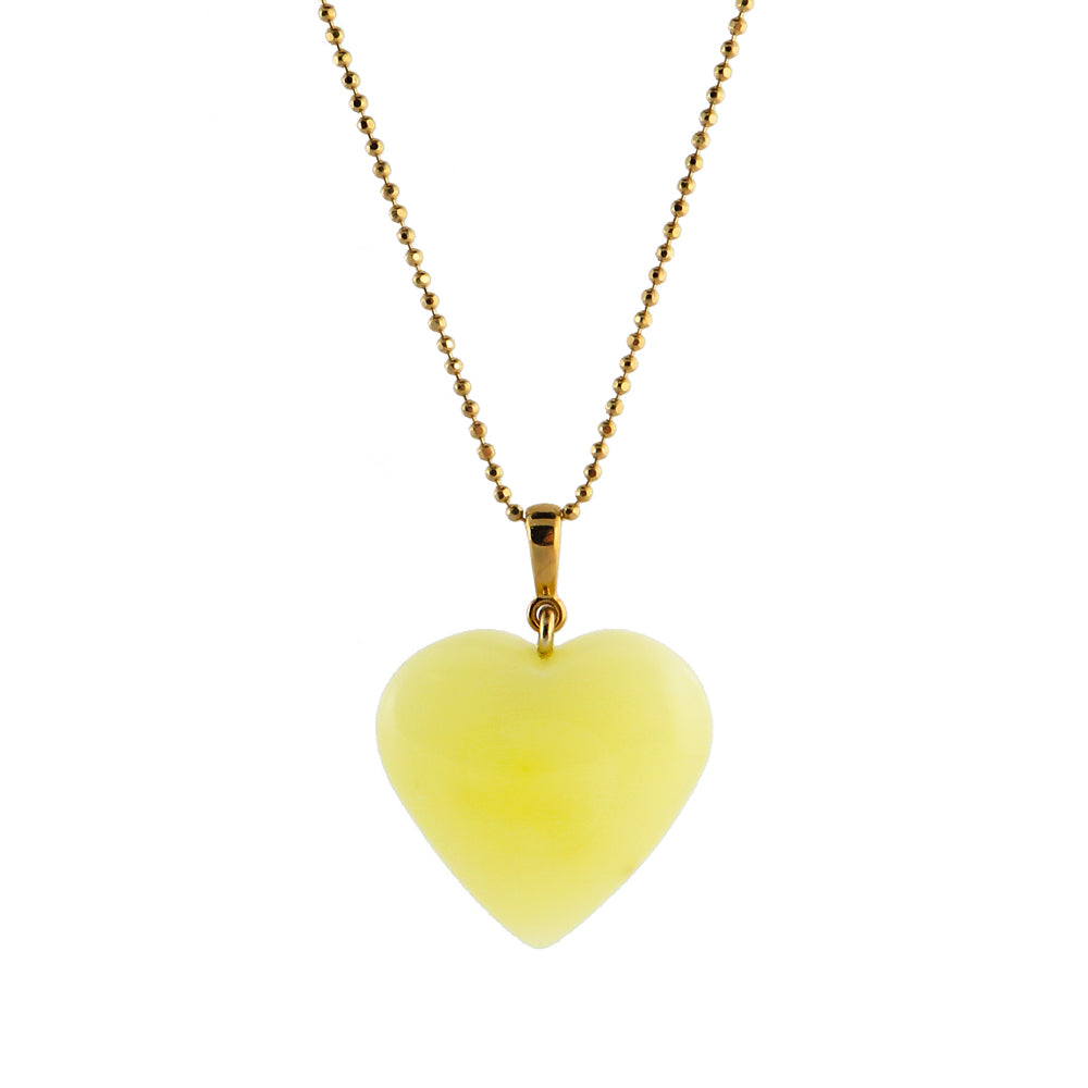 Blue Amber Heart Pendant & Chain Necklace 14K Gold Plated - Amber Alex Jewelry
