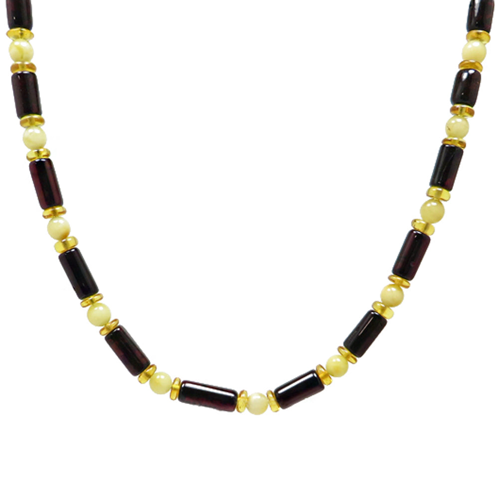 Men's Multi-Color Amber Beads Necklace - Amber Alex Jewelry