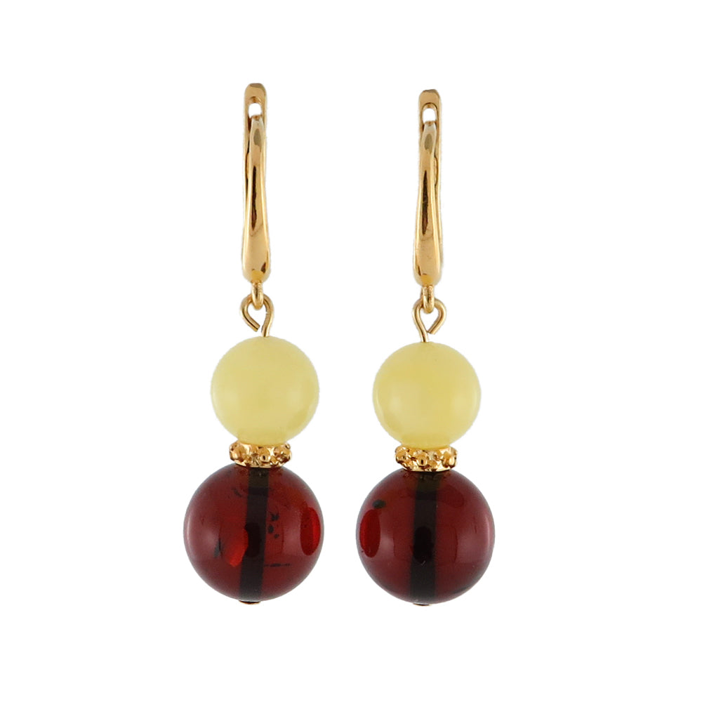 Milky and Cherry Amber Round Dangle Earrings 14K Gold Plated - Amber Alex Jewelry
