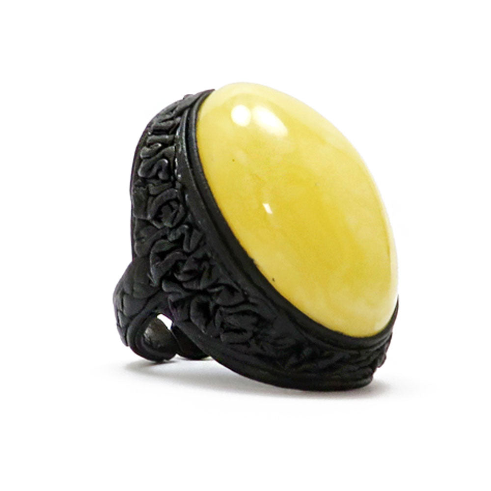 Milky Amber & Leather Adjustable Ring - Amber Alex Jewelry