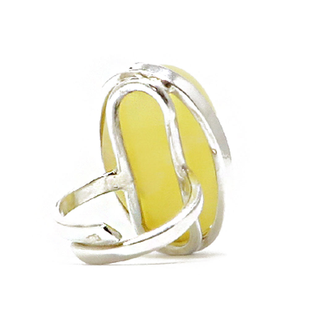 Milky Amber Free Shape Adjustable Ring Sterling Silver - Amber Alex Jewelry